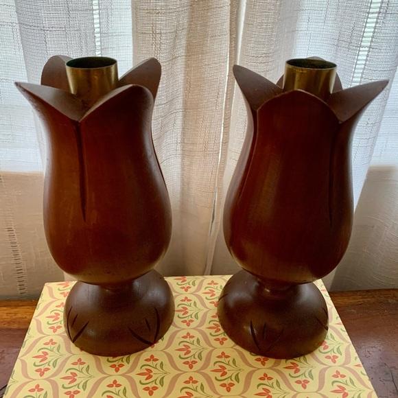 Wooden Tulip candleholders MCM Mid Century Modern